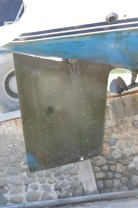 Rudder Before - pressure wash. This is the part that has 5 layers of Copper Coat & resin