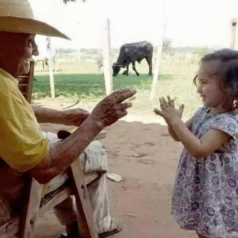 Receiving grandfathers blessing