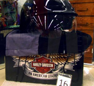 Used Harley Davidson merchandise, clothing and helmets.