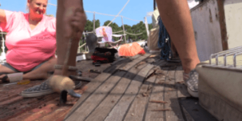 Closeup of the teak being removed