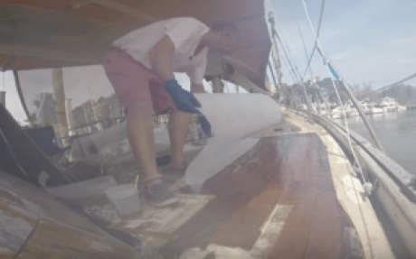 laying the first layer of fiberglass