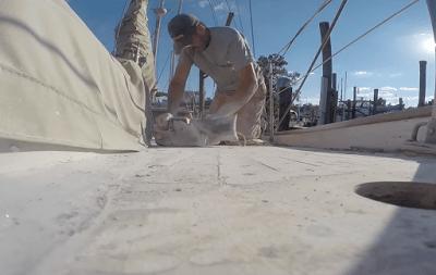 Sanding the Teak Deck - Title Image