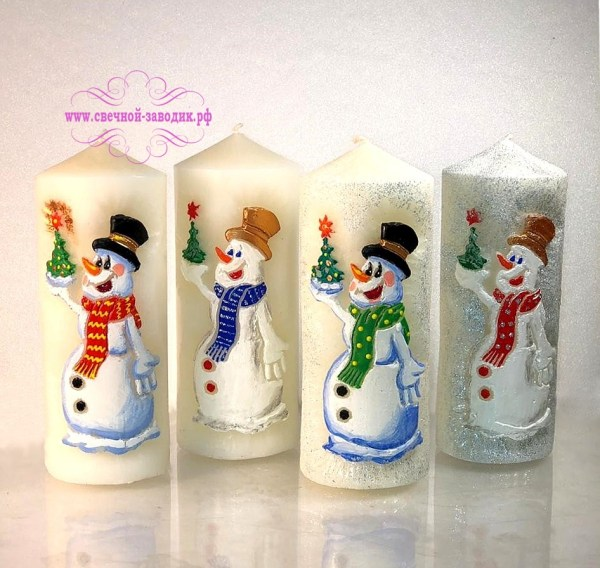 свечи новогодние столбики снеговики