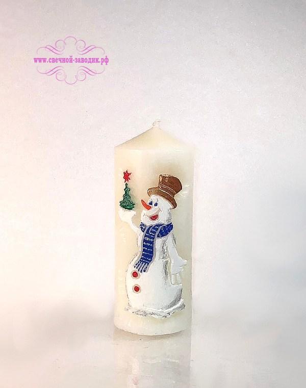 свеча новогодняя снеговик