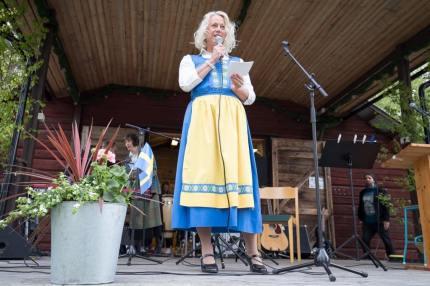 Carina Nilsson, förvaltningschef för bildning, fritid och kultur i Härjedalen hälsade välkommen. Foto: Morgan Grip