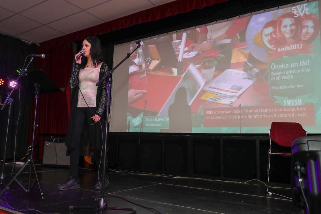 Nina Ekelund framförde bland annat en av de mest önskade låtarna av svenska folket under veckan. Lalehs Goliat. Foto: Morgan Grip