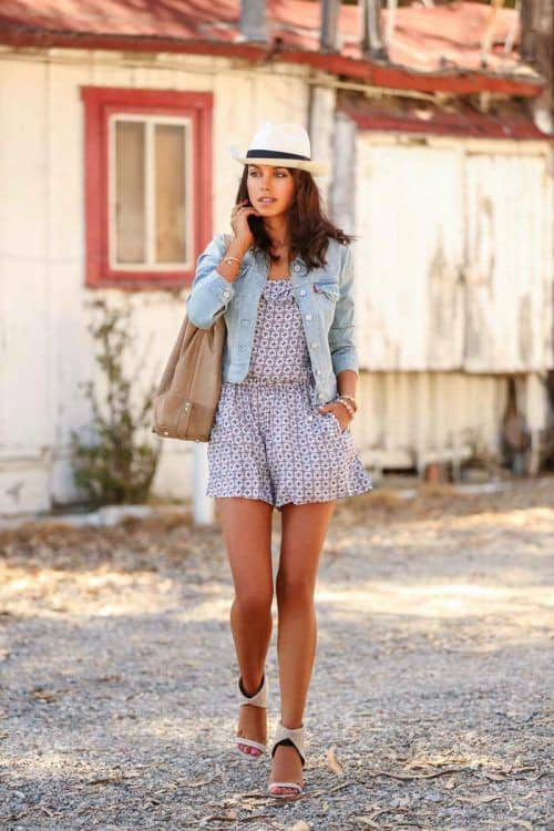 lady wearing jeans jacket on playsuit