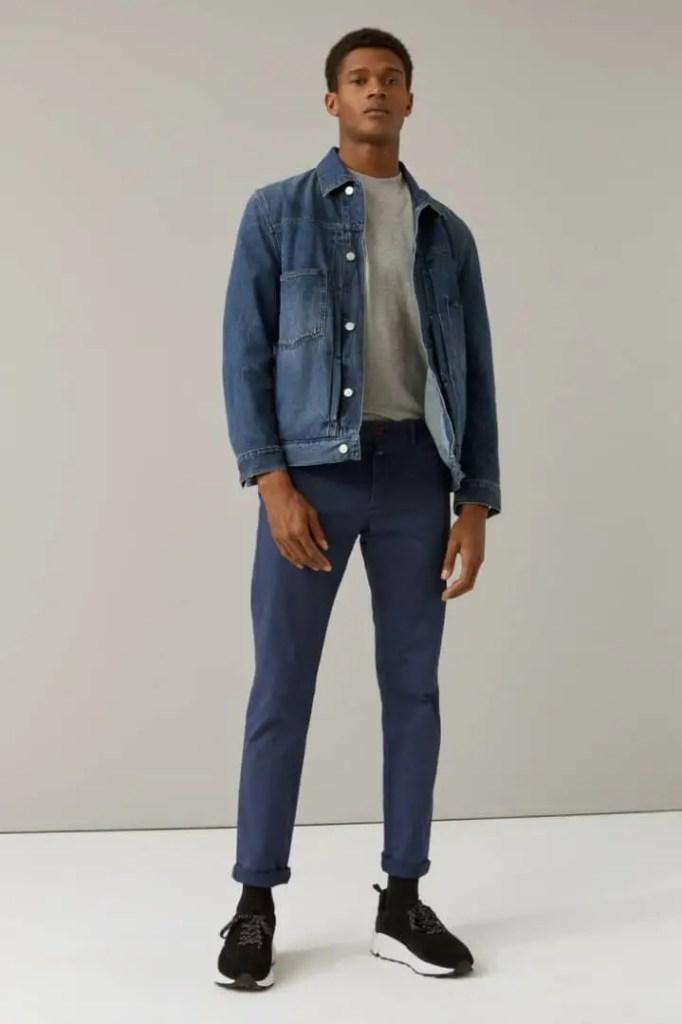 man wearing jean jacket with sneakers