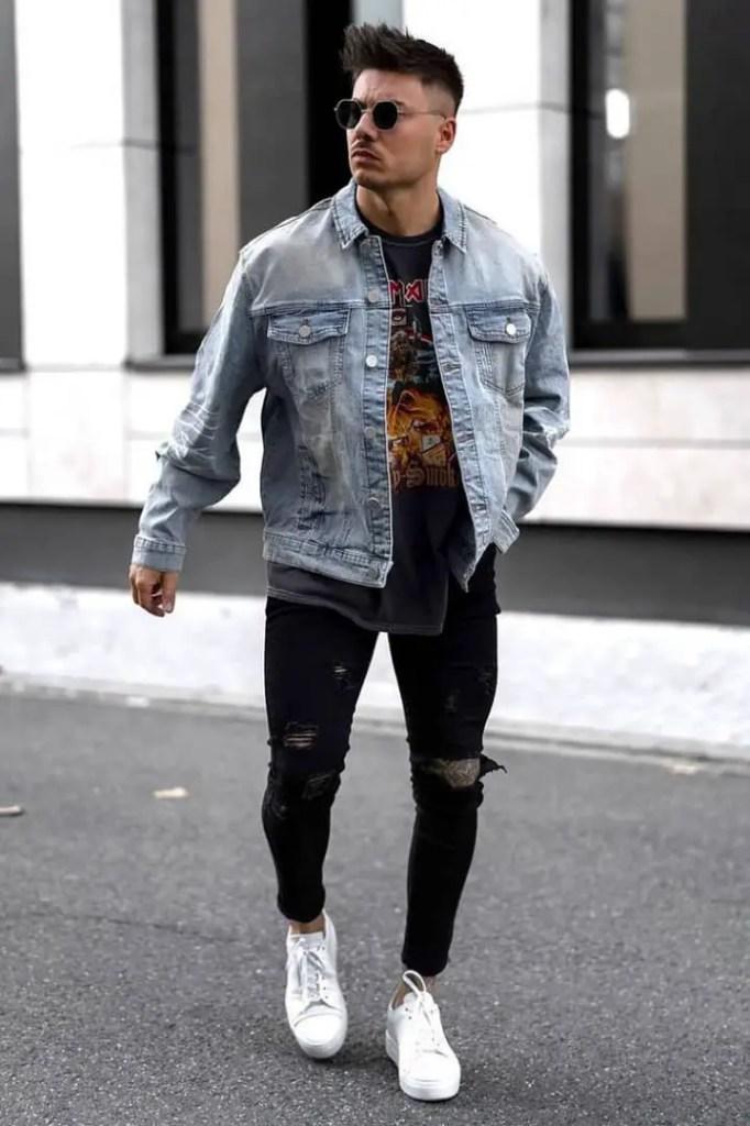 man wearing jean jacket on jean pants