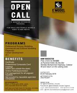 E'Model Management: Open Call For Models/Would-be Models