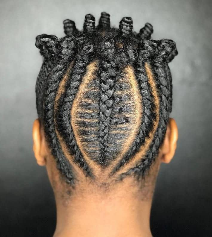 back view of cornrows hairstyle