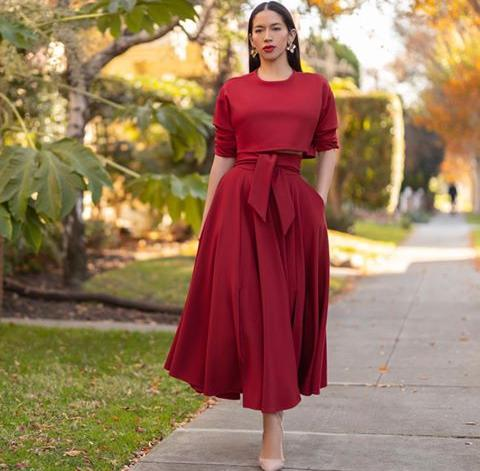 red swing skirt and a red top - Red Outfit Ideas for Valentine's Day