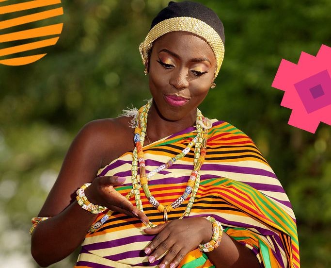 African woman wearing glass beads