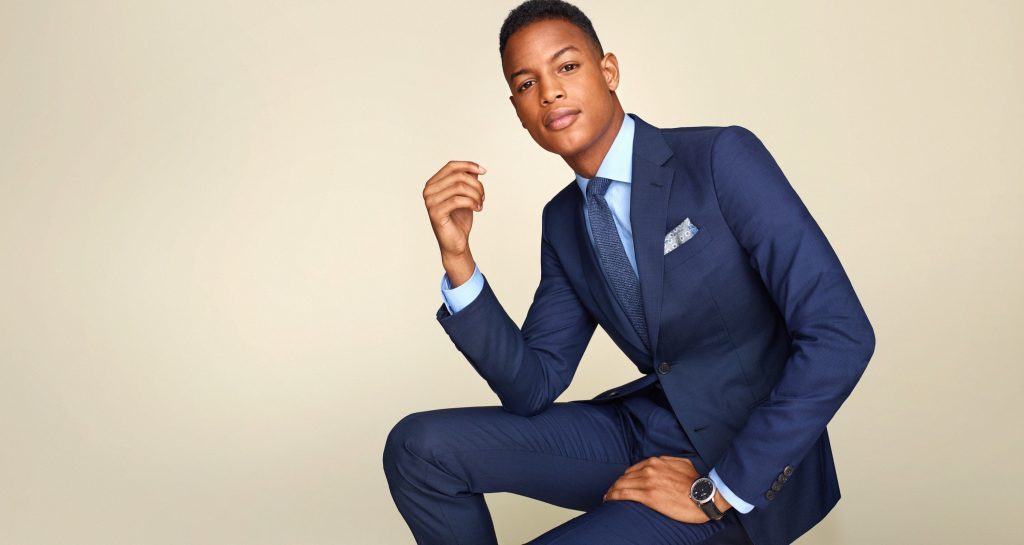 blue fitted silhouette suit