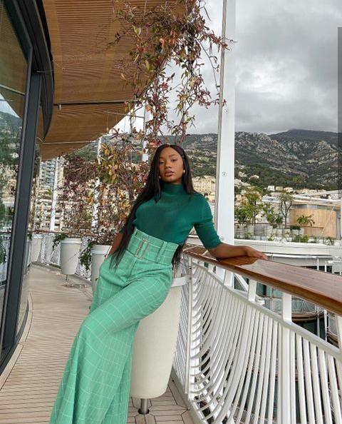 Temi Otedola in a greenish two piece