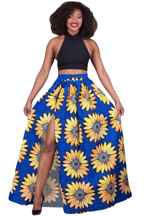 lady wearing ankara maxi skirt