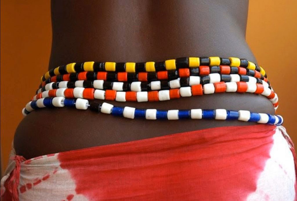 large colorful African waist beads