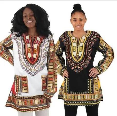 2 ladies in long sleeves dashiki tops