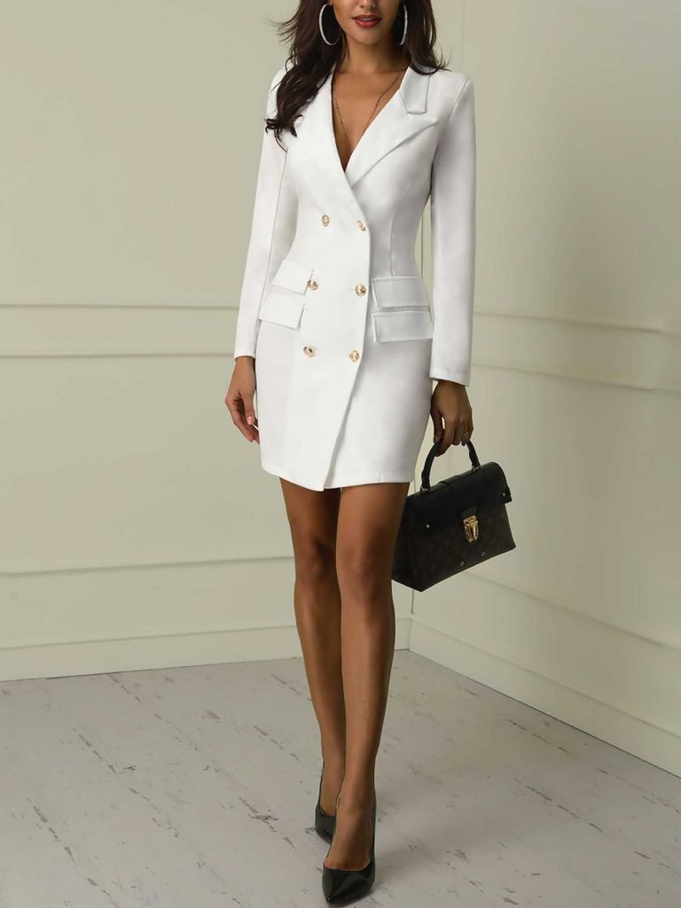 lady in a white suit dress - 15 Must-have Types of Dresses for Women