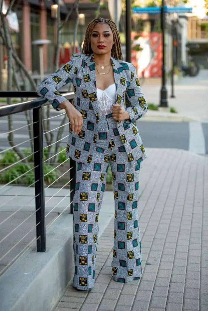 lady in light blue ankara suit