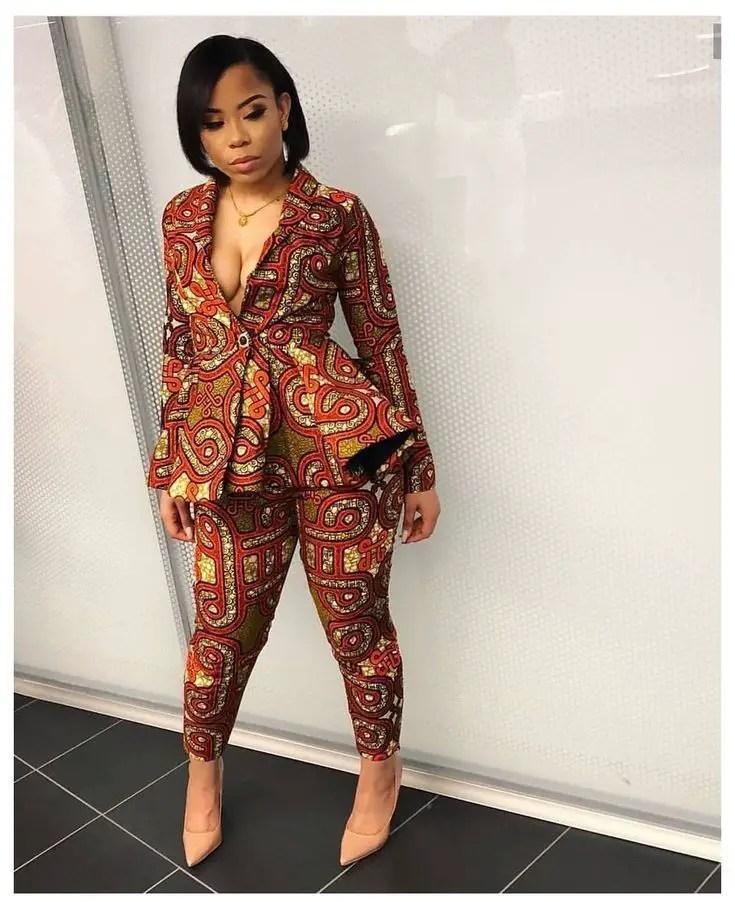 beautiful lady in ankara suit