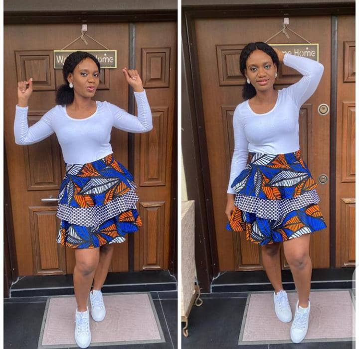 ankara short skirt with white sneakers