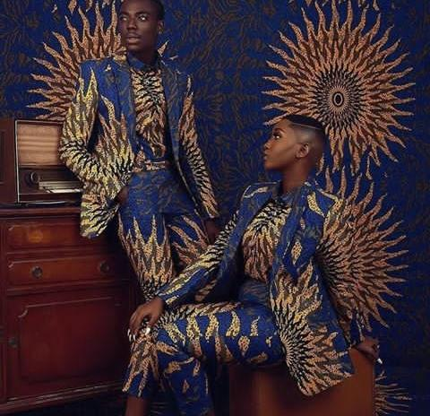 ankara suit suit couple with a matching background