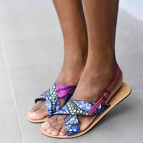 blue and pink ankara sandals