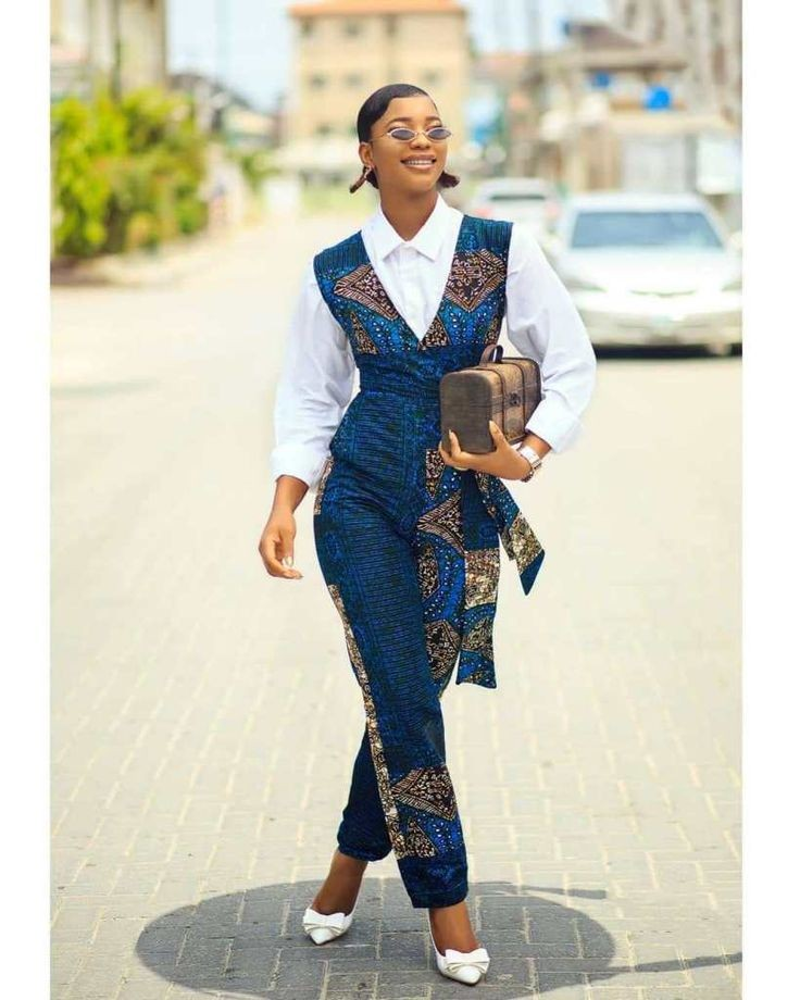 lady in sleeveless ankara jumpsuit