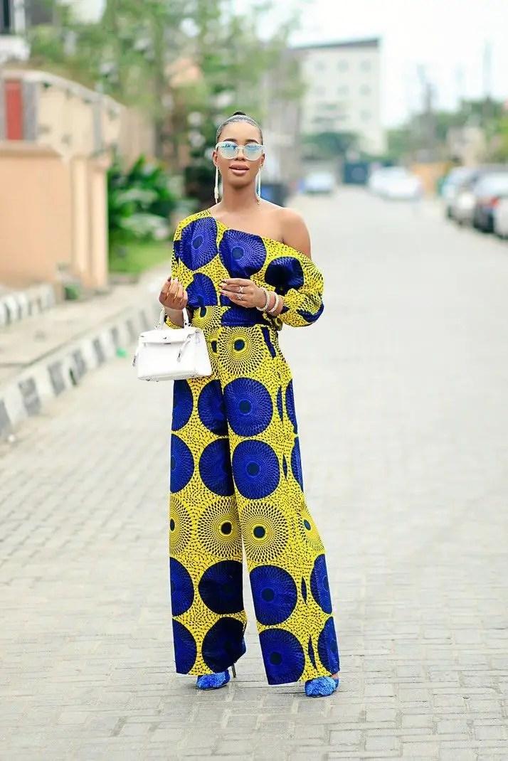 lady wearing ankara jumpsuit