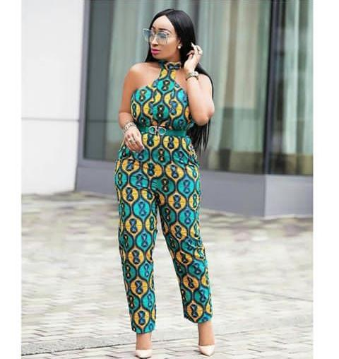 lady in a high neck ankara jumpsuit