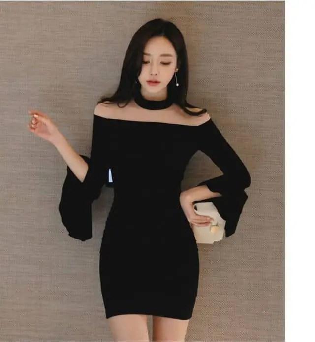 lady wearing black off-shoulder dress with a chocker