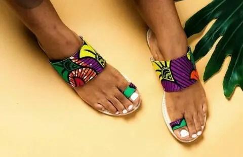 new ankara palms on a lady's feet
