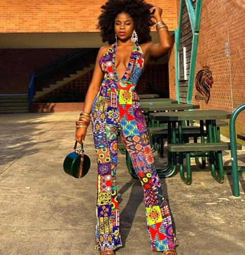 lady in a print ankara jumpsuit