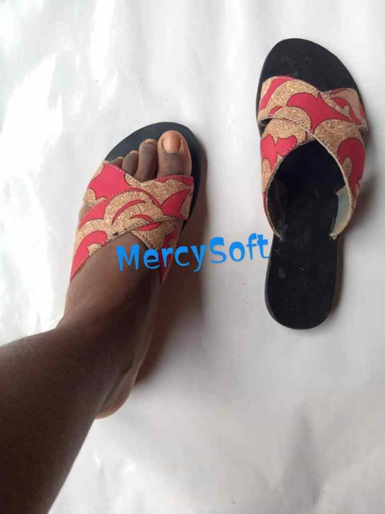 red ankara slippers by Mercy Soft
