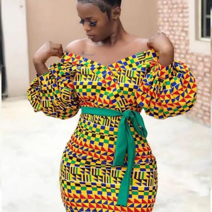 Lady wearing kente dress
