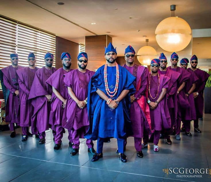 Banky W and his groomsmen rocking agbada during is traditional marriage in 2017