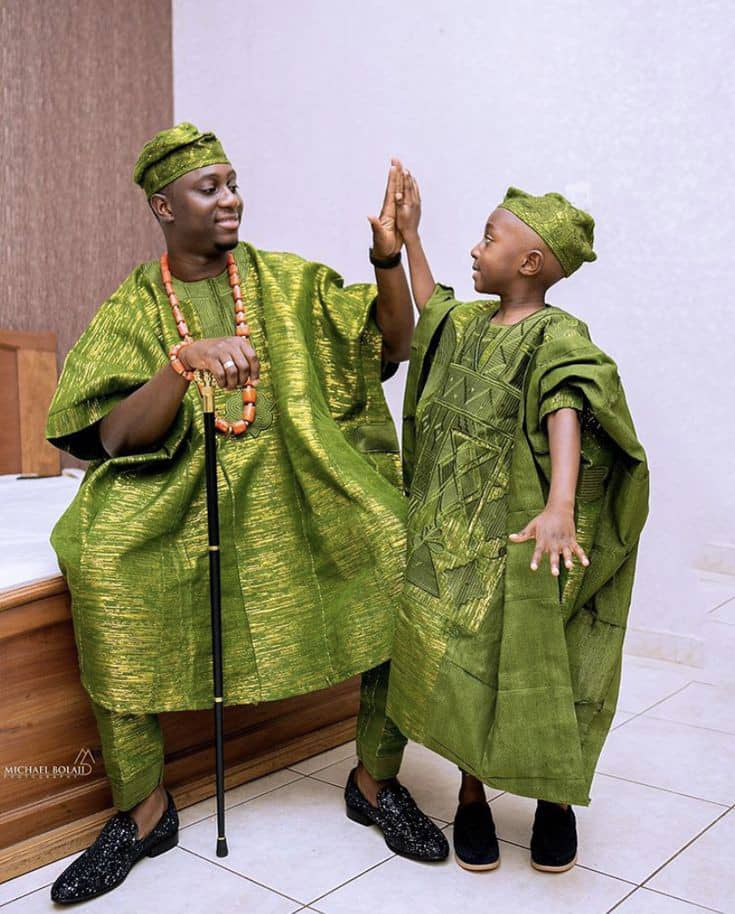 man and son rocking same color agbada outfits