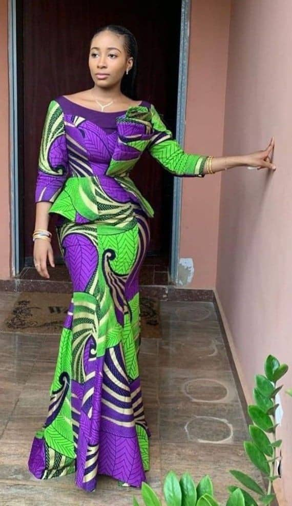 lady in a beautiful ankara long dress