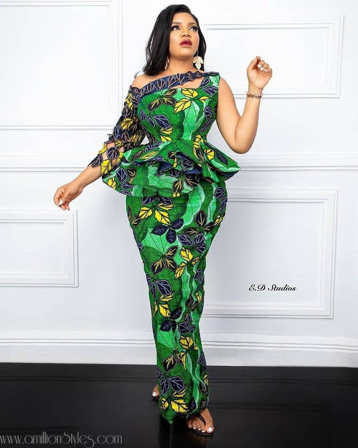 lady in a green ankara long dress