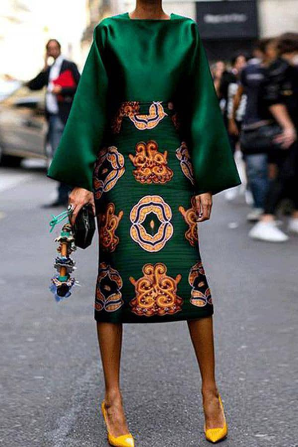 lady wearing green ankara skirt
