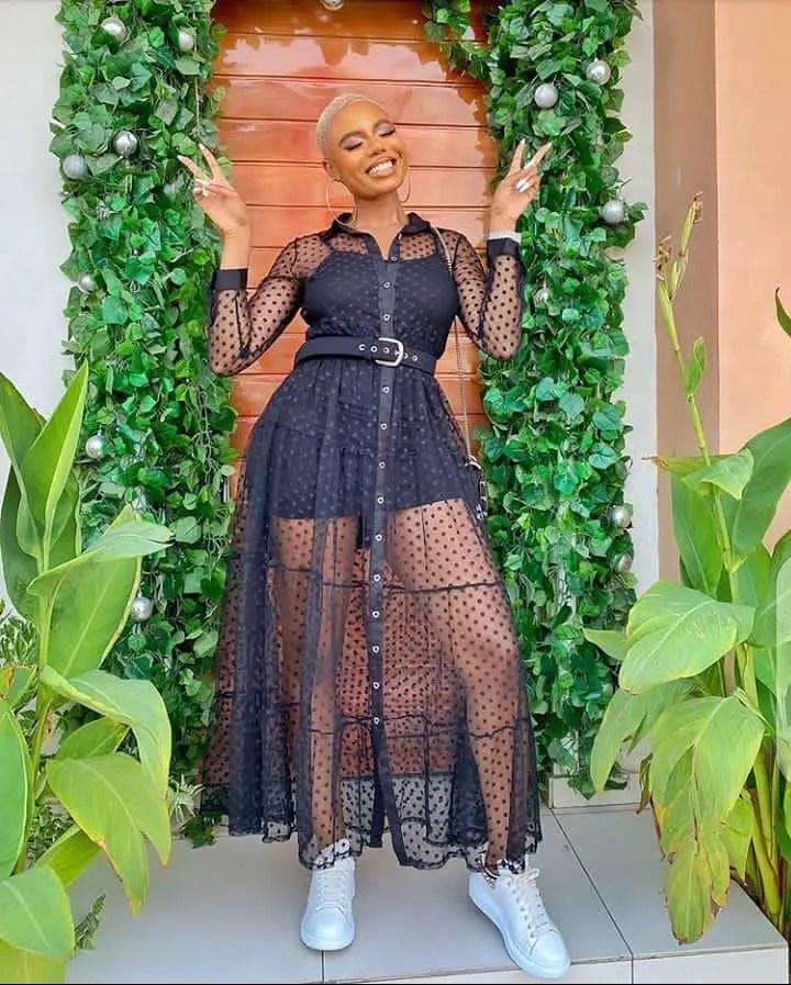 lady in a black maxi dress
