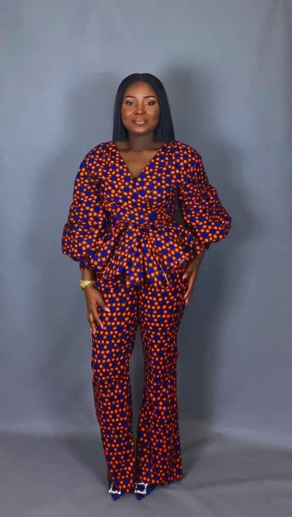 lady wearing ankara peplum top and trouser