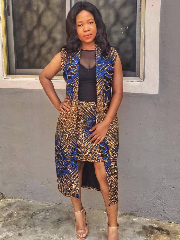 lady rocking ankara kimono and skirt