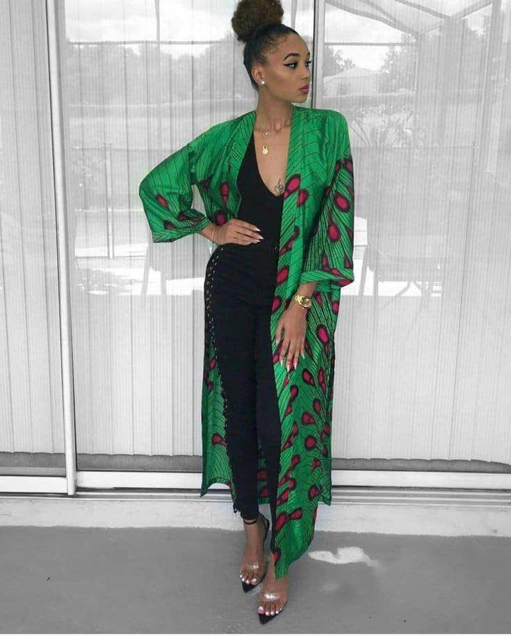 lady wearing ankara kimono to provide layer for her outfit