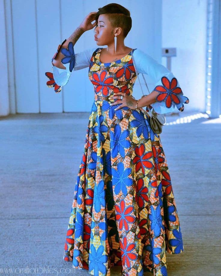 lady wearing beautiful ankara long gow