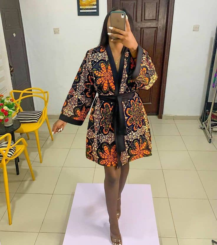 lady rocking ankara short dress