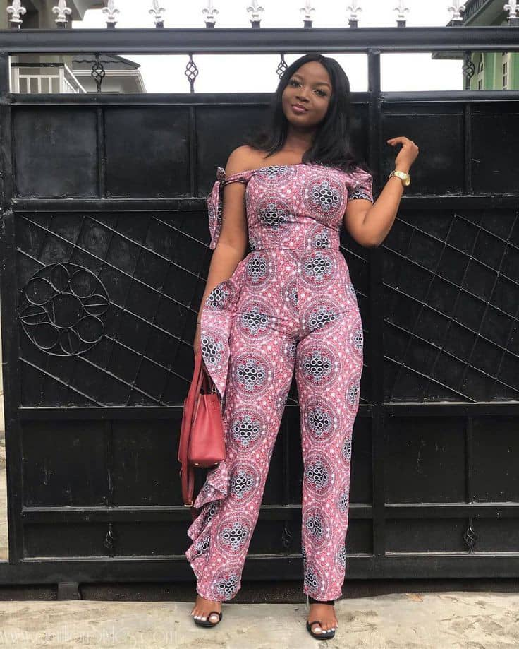 lady rocking a beautiful ankara jumpsuit