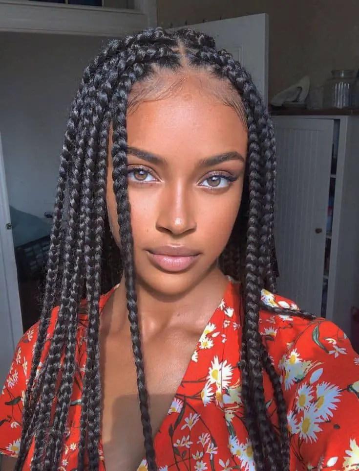 beautiful lady wearing box braids