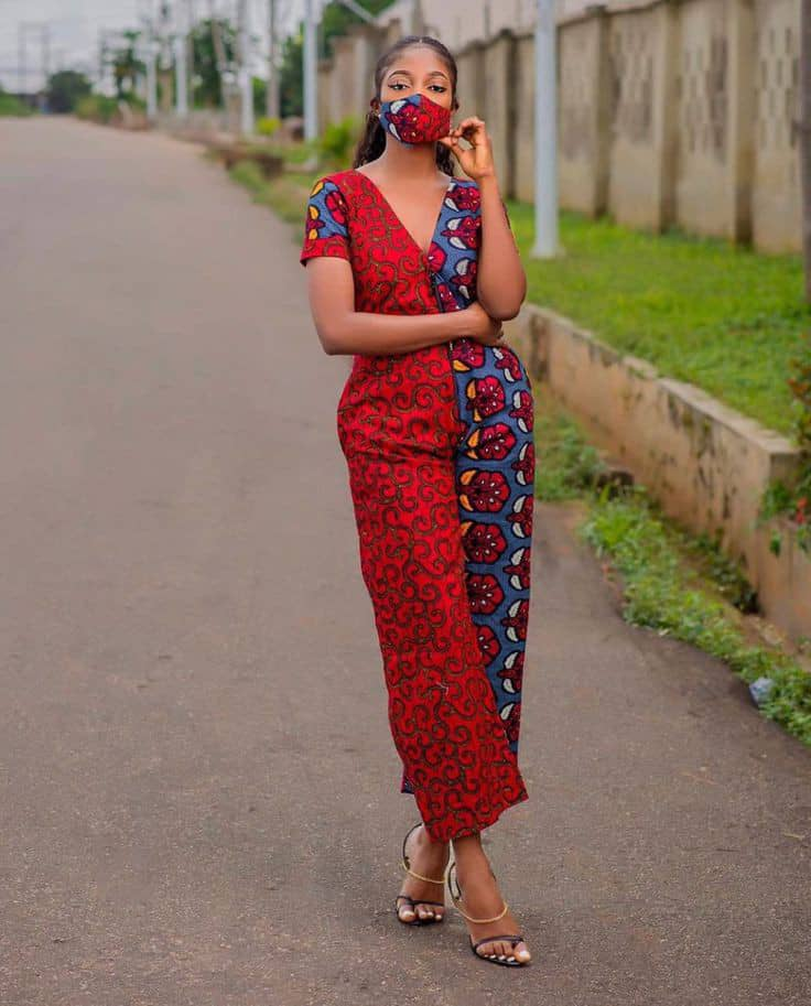 lady wearing mixed ankara fabric jumpsuit